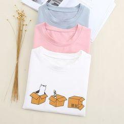 Fairyland - Cat Print Short-Sleeve T-Shirt