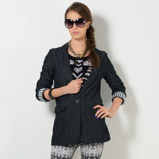 59 Seconds - Single-Button Denim Blazer