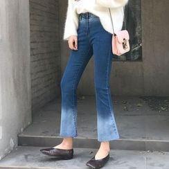 Lokin - 渐变色靴形牛仔裤