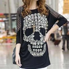 Dream Girl - Cutout Skull Print T-Shirt