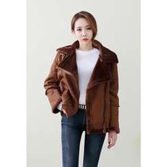 Dalkong - Funnel-Neck Belted Faux-Shearling Jacket