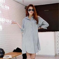PIPPIN - Long-Sleeve Slit-Side Shirtdress