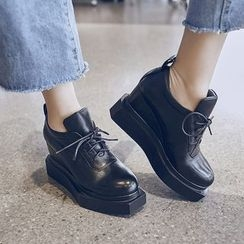 JY Shoes - Lace-Up Platform Wedge Shoes