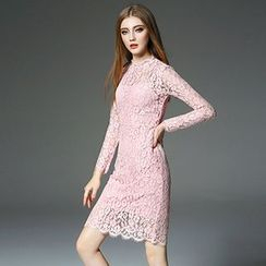 Queen Mulock - Long-Sleeve Lace Dress With Slipdress
