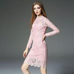 洛圖 - 長袖蕾絲連衣裙連吊帶裙