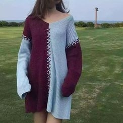 Hanni - 飾縫線長款毛衣