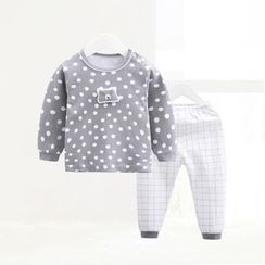 ciciibear - Kids Set: Dotted Top + Check Pants