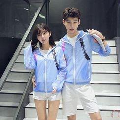 Evolu Fashion - Couple Matching Print Hooded Light Jacket