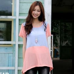 OrangeBear - Short-Sleeve Panel Chiffon Top