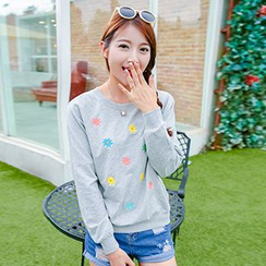 Lina - Flower Embroidered Pullover