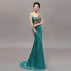 Posh Bride - One-Shoulder Sequined Mermaid Evening Gown