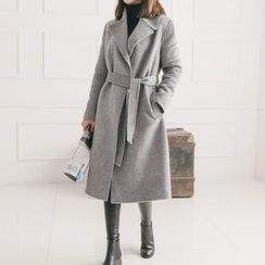 Seoul Fashion - Wide-Lapel Open-Front Wool Coat with Sash