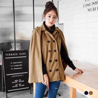 OrangeBear - Button-Front Woolen Cape