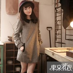 Tokyo Fashion - Contrast Collar Tweed Tunic