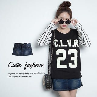 CUTIE FASHION - Washed Studded Distressed Denim Miniskirt
