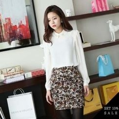 COCOAVENUE - Top: Lace-Trim Chiffon Top + Patterned Pencil Skirt