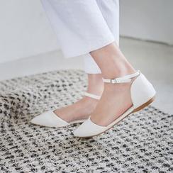 JUSTONE - 踝扣帶 D'Orsay 平跟鞋