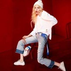 ELF SACK - Fray-Hem Washed Distressed Jeans