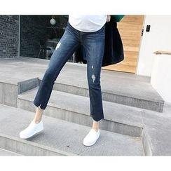 MARSHMALLOW - Maternity Boot-Cut Fray-Hem Jeans
