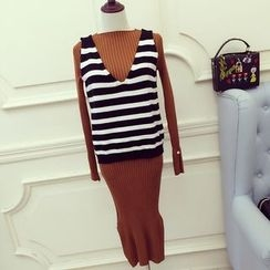 RUI - Set: Long-Sleeve Knit Dress + Striped Vest