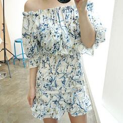 chuu - Off-Shoulder Floral Pattern Smocked Mini Dress