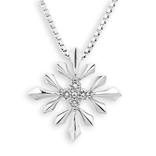 MaBelle - 18K White Gold Snow Flake Four Stones Diamond Accents Pendant (FREE 925 Silver Box Chain)