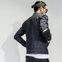 YIDESIMPLE - Cut-Sleeve Denim Jacket