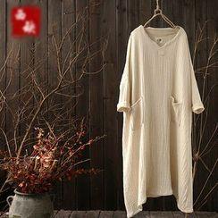 Rosadame - Long-Sleeve Notch Neck Midi Dress