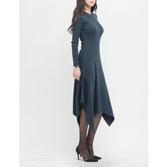 GUMZZI - Round-Neck Ruffle-Hem Long Dress