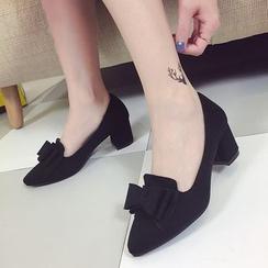 Wello - 蝴蝶結裝飾粗跟高跟鞋