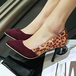 Nouvelle Footwear - Pointy-Toe Leopard Print Panel Stilettos