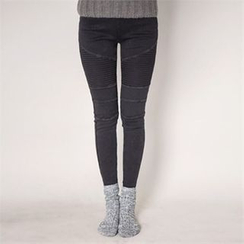 ERANZI - Quilted Brushed-Fleece Lined Leggings Pants