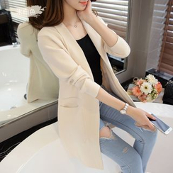 Cotton Candy - Plain Long Knit Jacket
