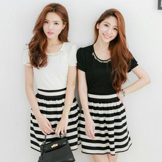 Tokyo Fashion - Mock Two-Piece Embellished Striped Dress
