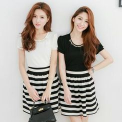 Tokyo Fashion - Mock Two-Piece Embellished Striped Dress