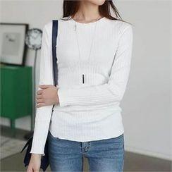 CHICFOX - Round-Neck Plain T-Shirt
