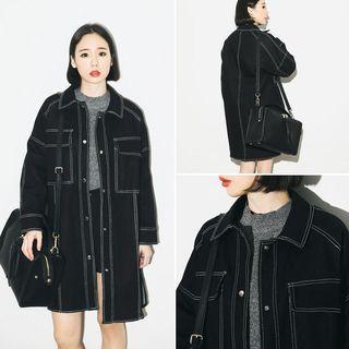 Sienne - Stitch Detailed Long Denim Jacket