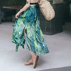 migunstyle - Slit-Side Pattern Skirt
