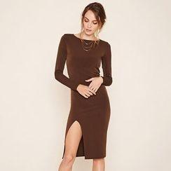 Hanni - Long-Sleeve Slit-Hem Plain Sheath Dress