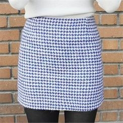 LIPHOP - Houndstooth A-Line Miniskirt