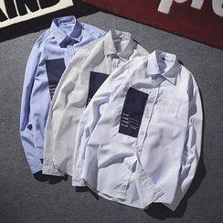 Masowild - Applique Pinstripe Long-Sleeve Shirt