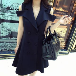 Octavia - Double-Breasted Sleeveless Coatdress
