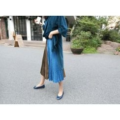 MARSHMALLOW - Color-Block Pleated Skirt