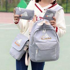 Bagolo - 四件套: 印花帆布雙肩包 + 斜挎包 + 拉鏈小袋 + 抽繩小袋