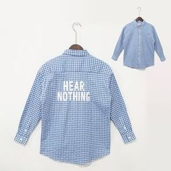 Mr. Cai - Lettering Plaid Long-Sleeve Shirt