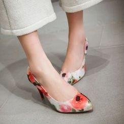 缤纷女鞋 - 碎花尖头高跟鞋