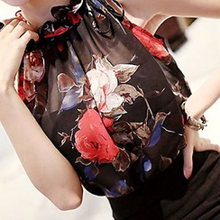 Shimi - Floral Print Frill Trim Halter Chiffon Blouse