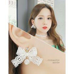 soo n soo - Embellished Lace Beribboned Dangle Earrings