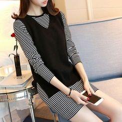 Ageha - Set: Striped Long-Sleeve Dress + V-Neck Knit Vest