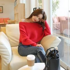 DABAGIRL - Boat-Neck Batwing-Sleeve Knit Top